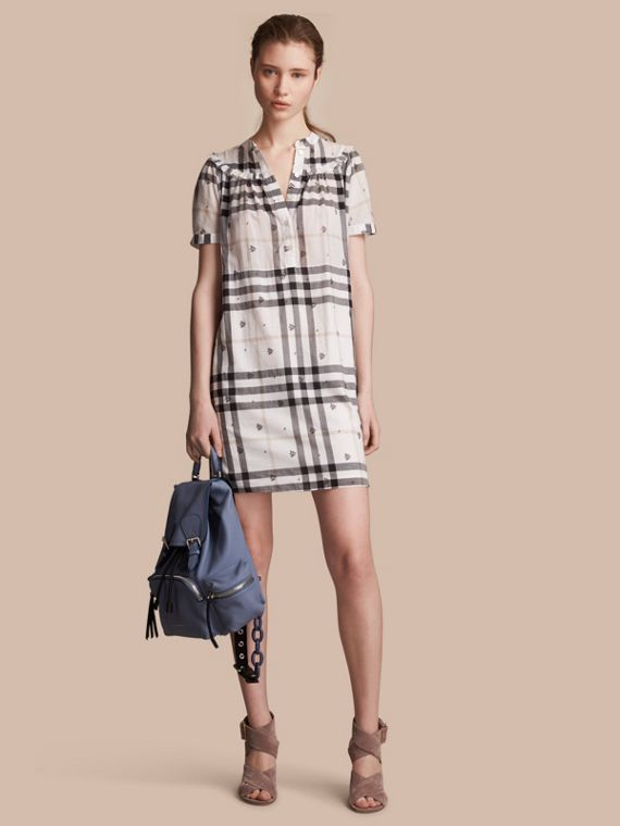 Ruffle Detail Floral Print Check Cotton Dress - Women | Burberry