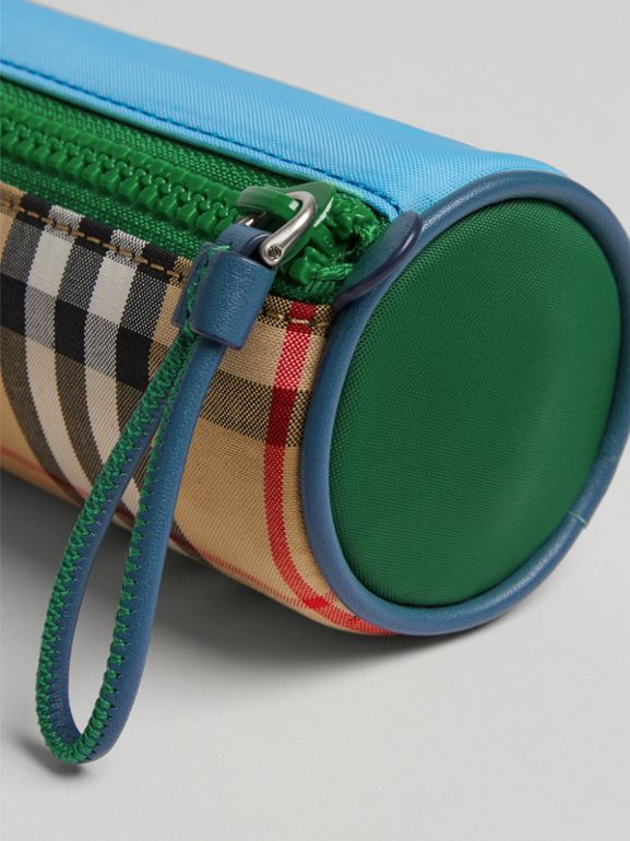 Vintage Check and Leather Pencil Case in Antique Yellow | Burberry Australia - cell image 1