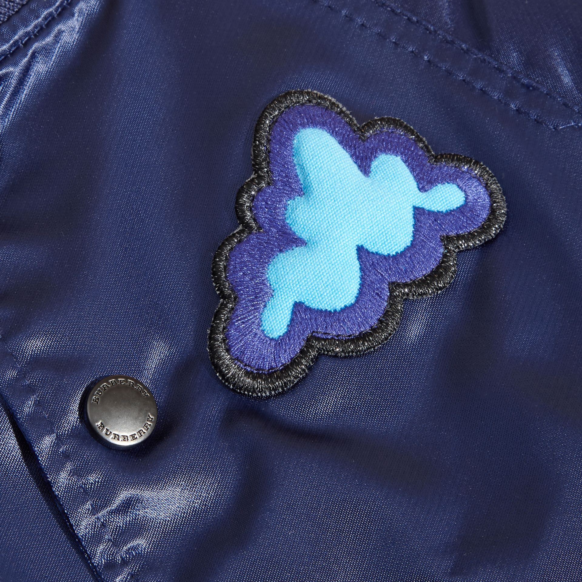 Bright navy Weather Appliqué Satin Bomber Jacket - gallery image 2