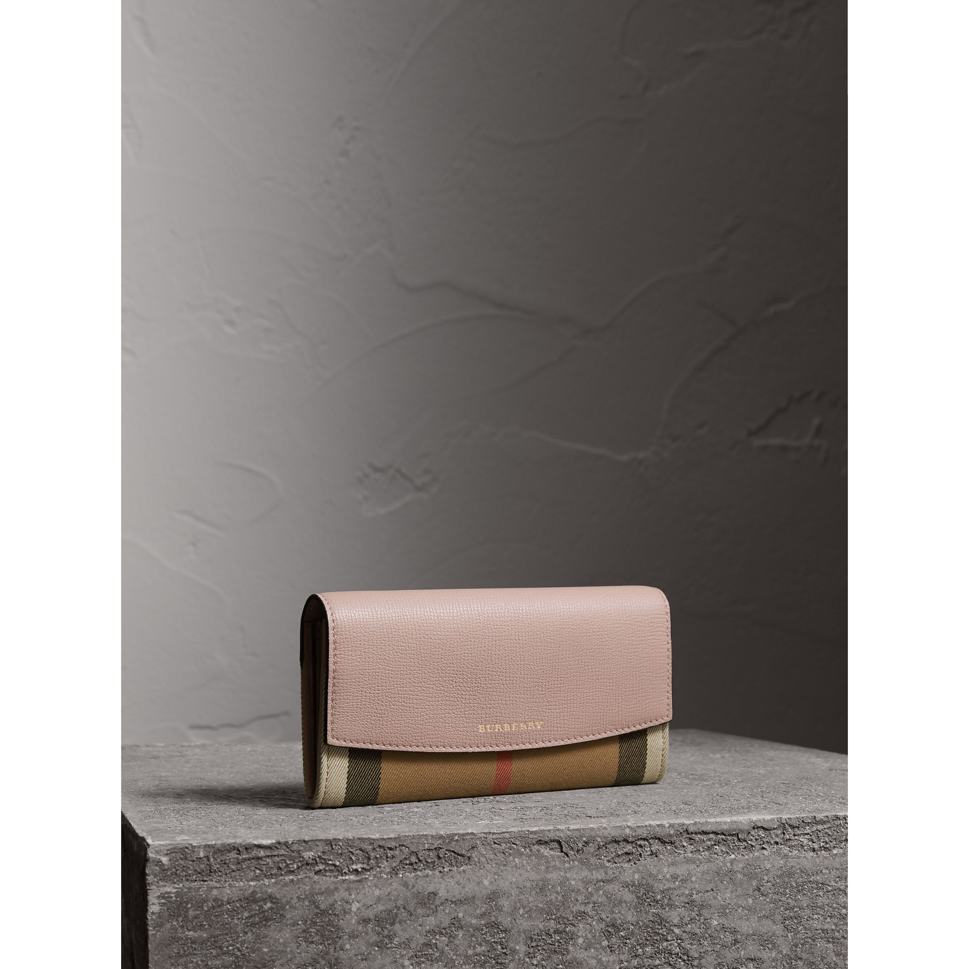 House Check And Leather Continental Wallet in Pale Orchid - Women | Burberry United Kingdom - gallery image 0