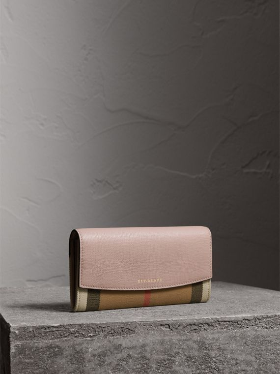 House Check And Leather Continental Wallet in Pale Orchid - Women | Burberry Australia