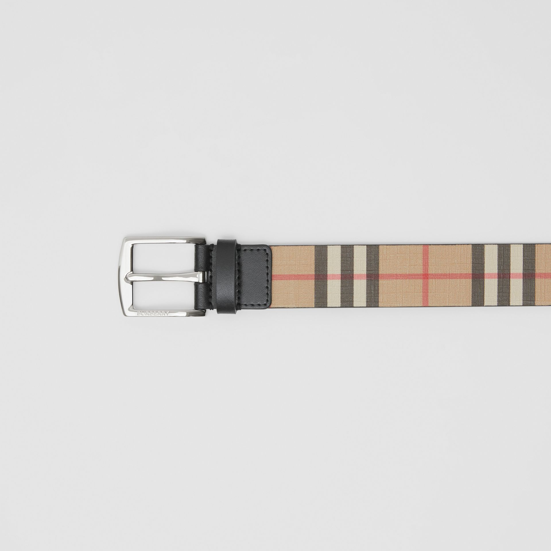 Vintage Check E-canvas and Leather Belt in Archive Beige - Men | Burberry - gallery image 1