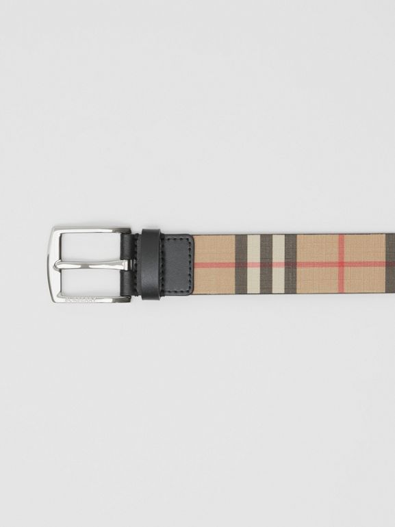 Vintage Check E-canvas and Leather Belt in Archive Beige - Men | Burberry - cell image 1