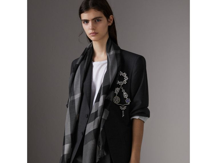 Ombré Washed Check Silk Scarf in Mid Grey - Women | Burberry - cell image 2