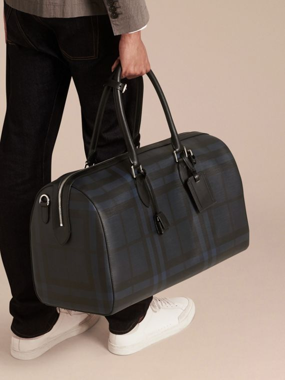 Leather Trim London Check Holdall in Navy/black - cell image 2