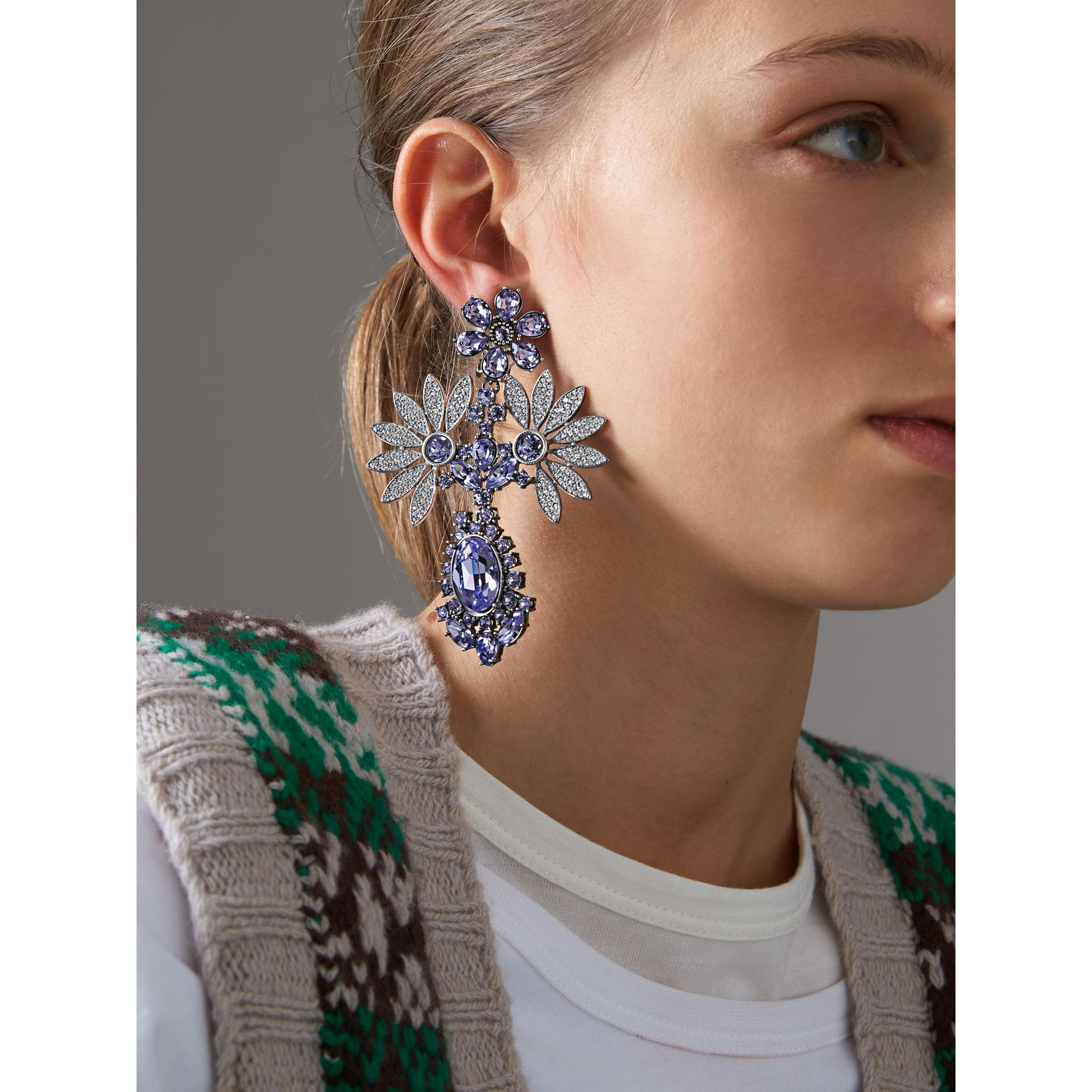 Crystal Double-daisy Drop Earring and Stud Set in Lavender Blue - Women | Burberry United Kingdom - gallery image 2