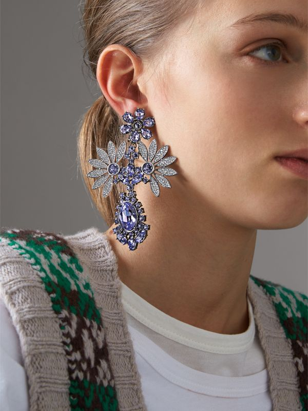 Crystal Double-daisy Drop Earring and Stud Set in Lavender Blue - Women | Burberry - cell image 2