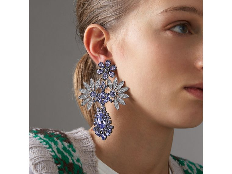 Crystal Double-daisy Drop Earring and Stud Set in Lavender Blue - Women | Burberry Hong Kong - cell image 2