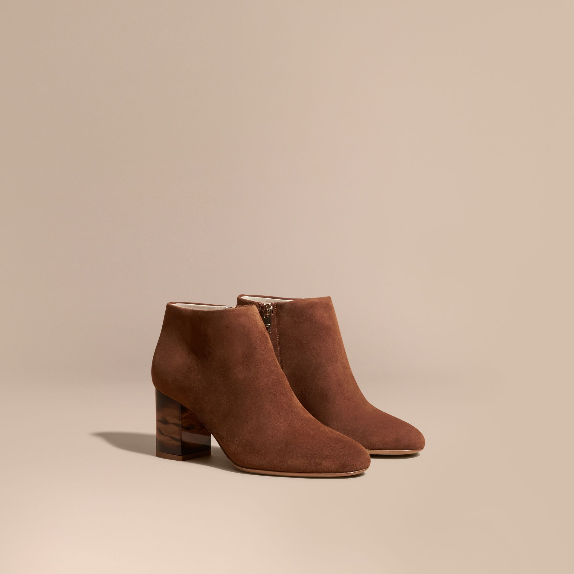 Marron girofle Bottines en cuir velours - photo de la galerie 1