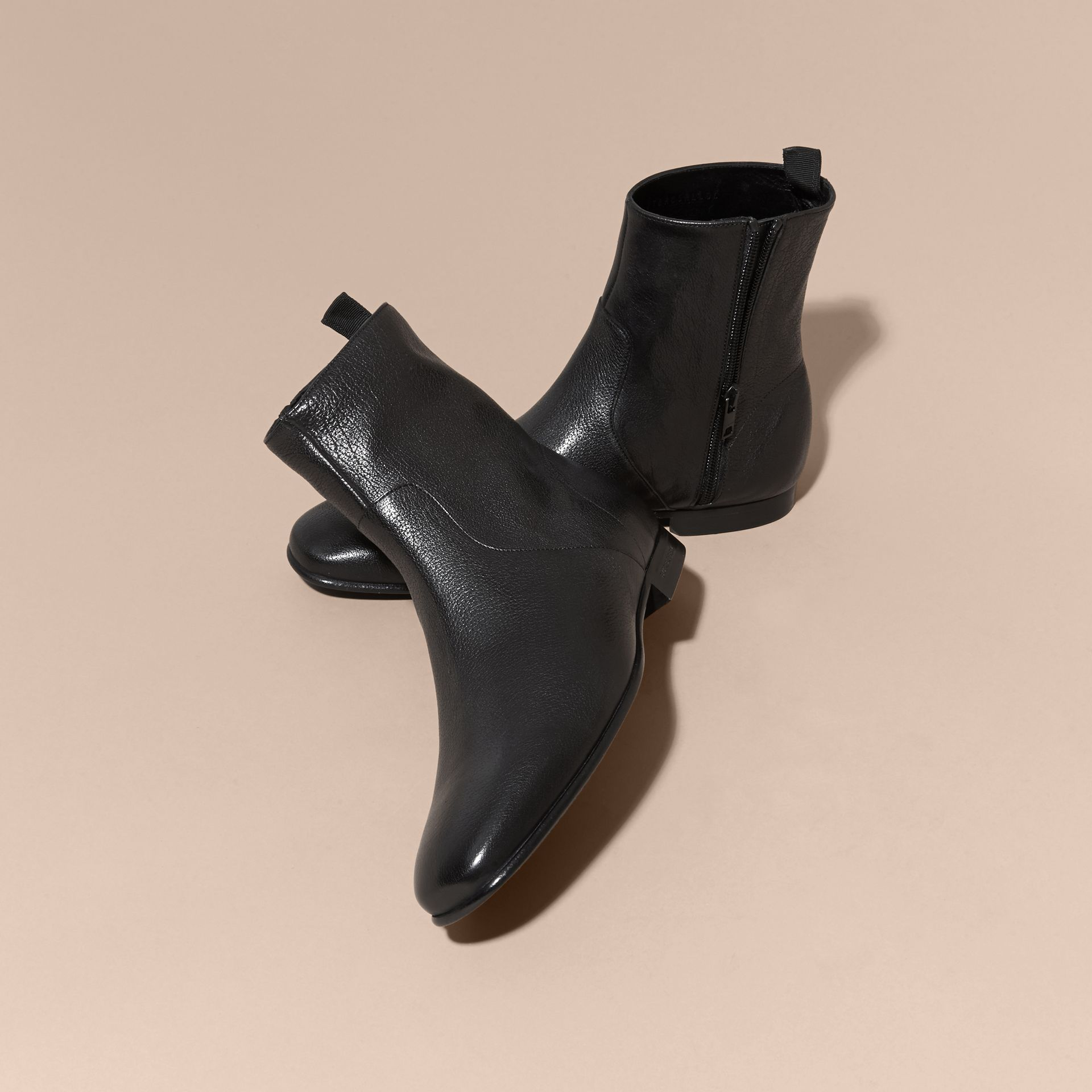 Black Leather Ankle Boots - gallery image 3