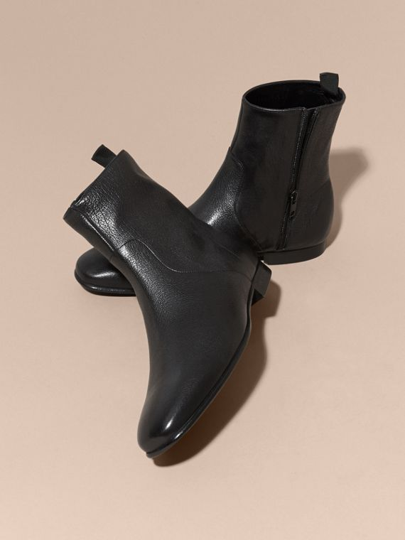 Black Leather Ankle Boots - cell image 2
