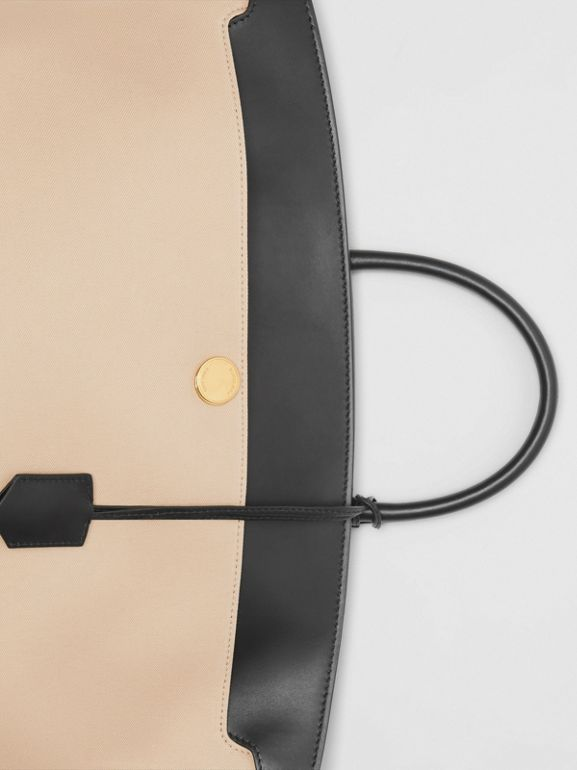 Cotton Canvas and Leather Society Top Handle Bag in Black/honey - Women | Burberry Singapore - cell image 1