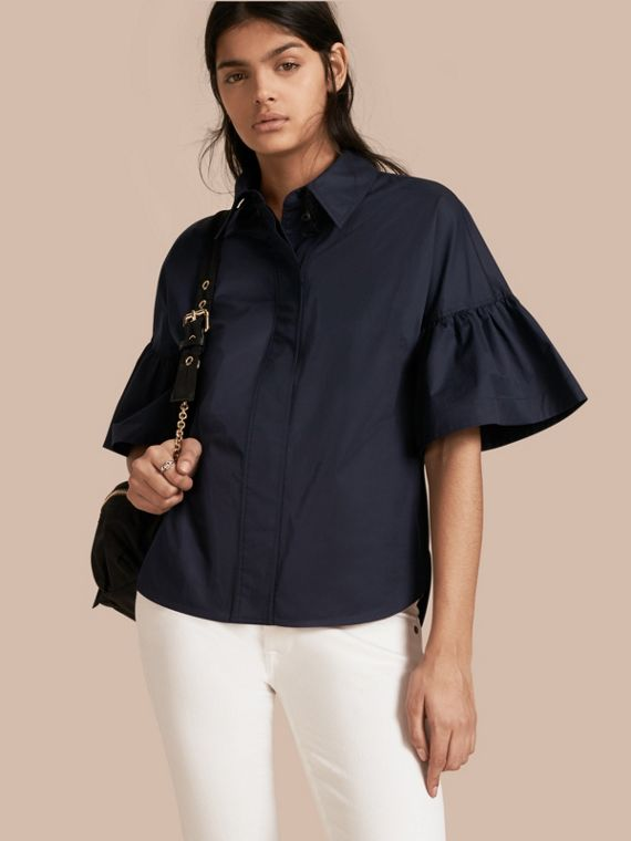 Stretch Cotton Shirt with Ruched Sleeves Navy