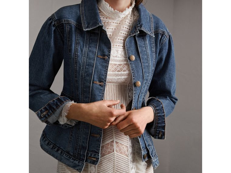 Puff-sleeve Denim Jacket - Women | Burberry - cell image 4