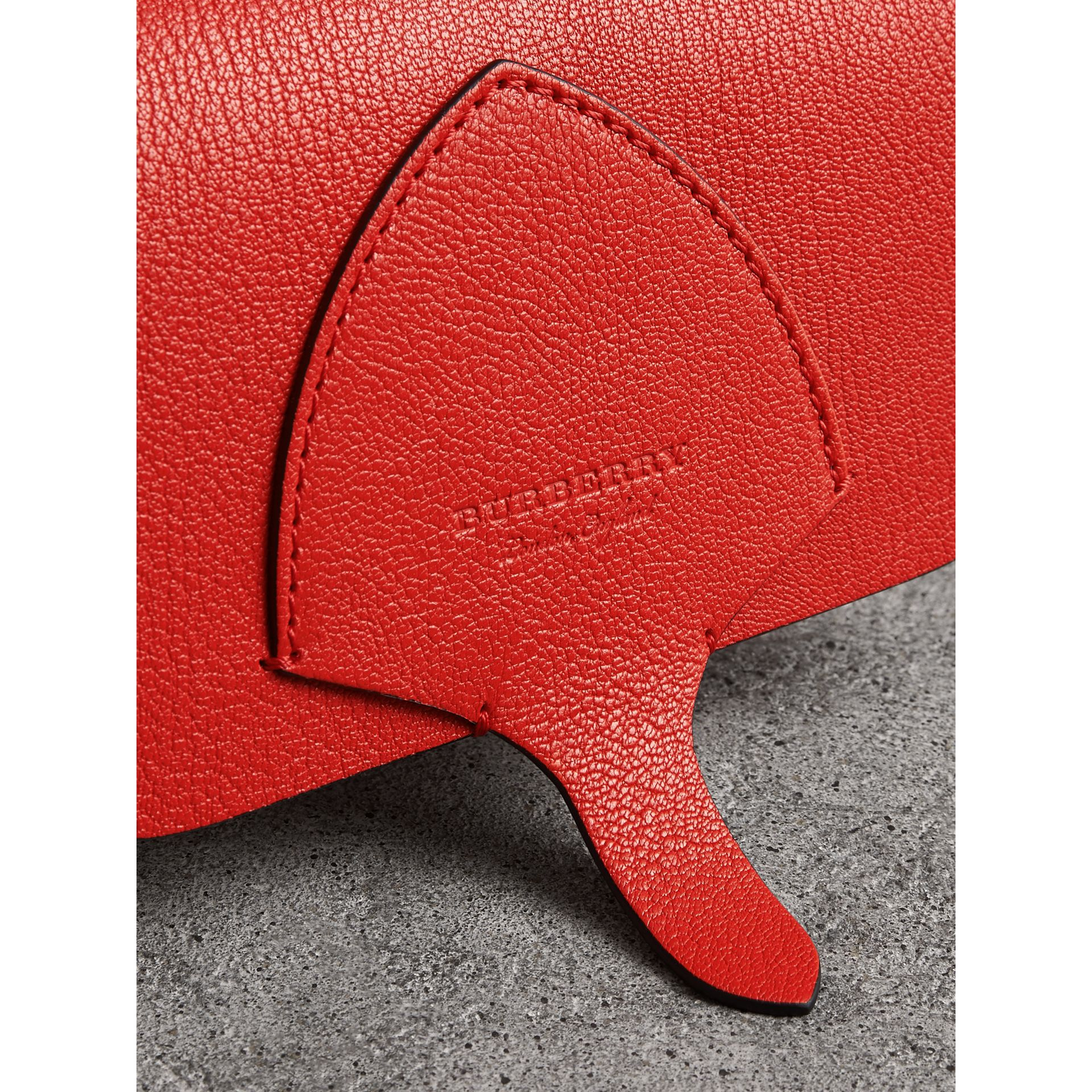 Equestrian Shield Leather Wallet with Detachable Strap in Bright Red - Women | Burberry Canada - gallery image 1