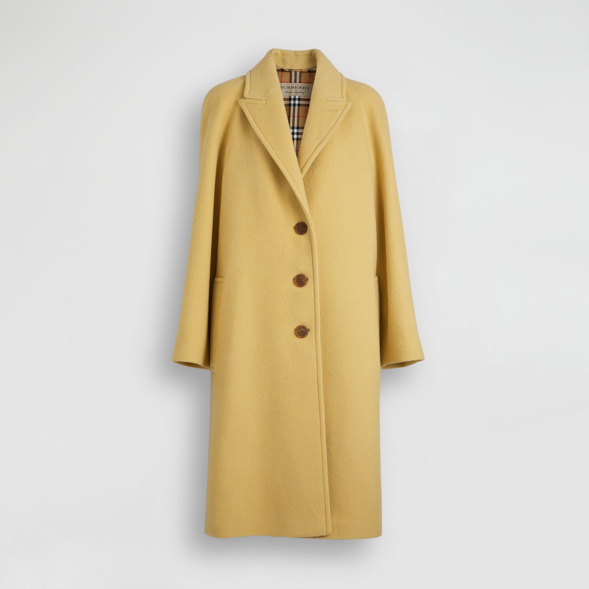 Wool Blend Tailored Coat in Camomile - Women | Burberry Canada - gallery image 3