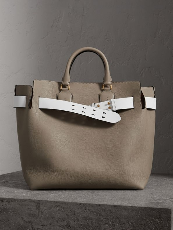 The Large Leather Belt Bag in Mineral Grey