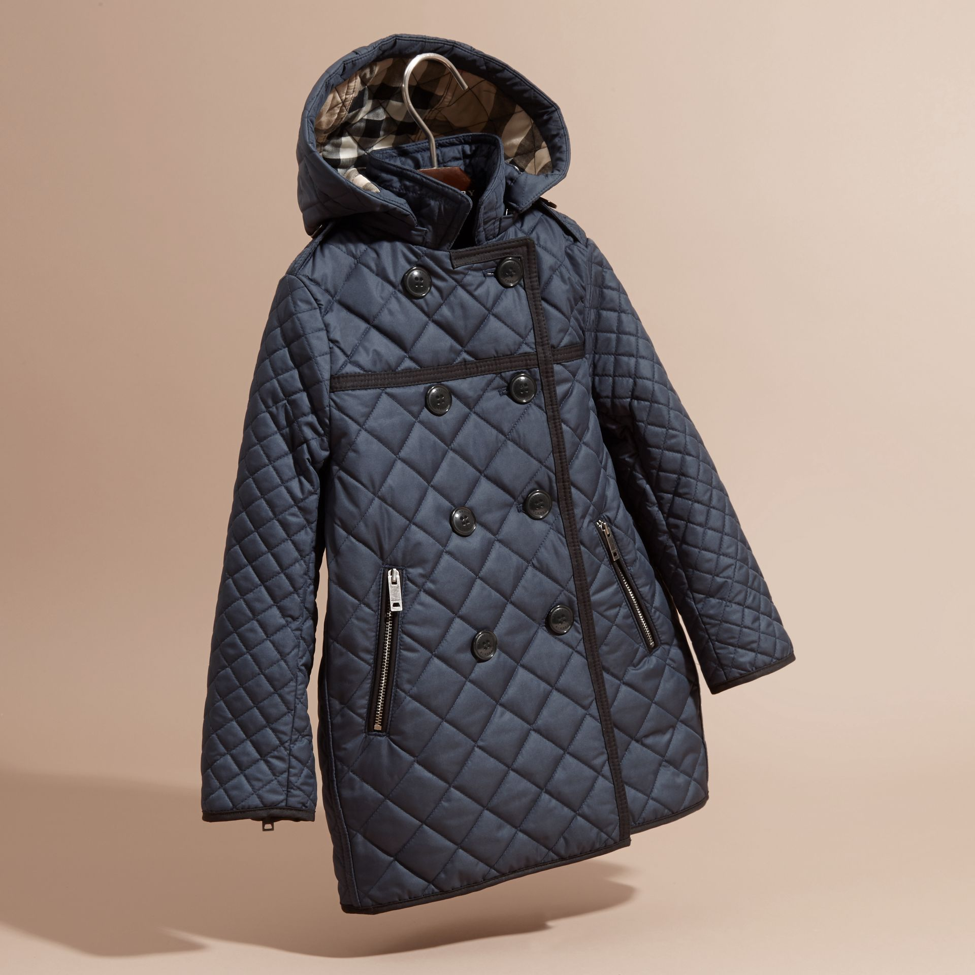Diamond-quilted Coat with Detachable Hood in Ink Blue - Girl | Burberry - gallery image 3