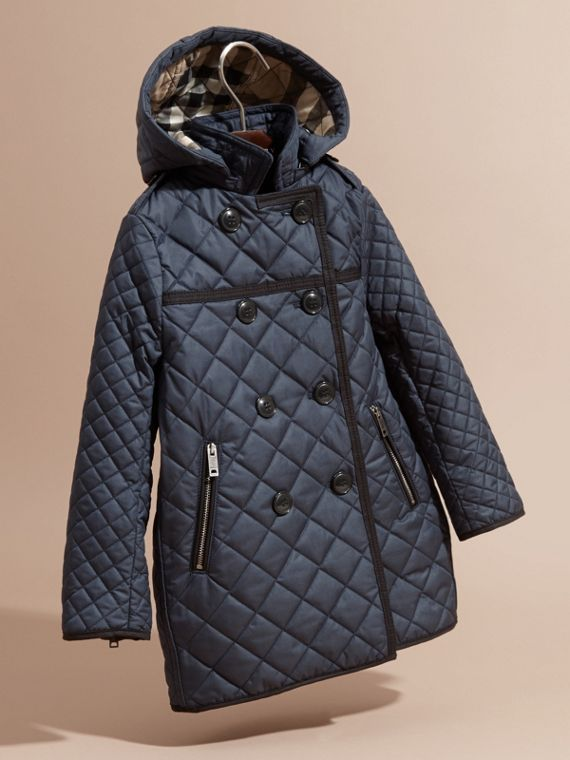 Diamond-quilted Coat with Detachable Hood in Ink Blue - Girl | Burberry - cell image 2