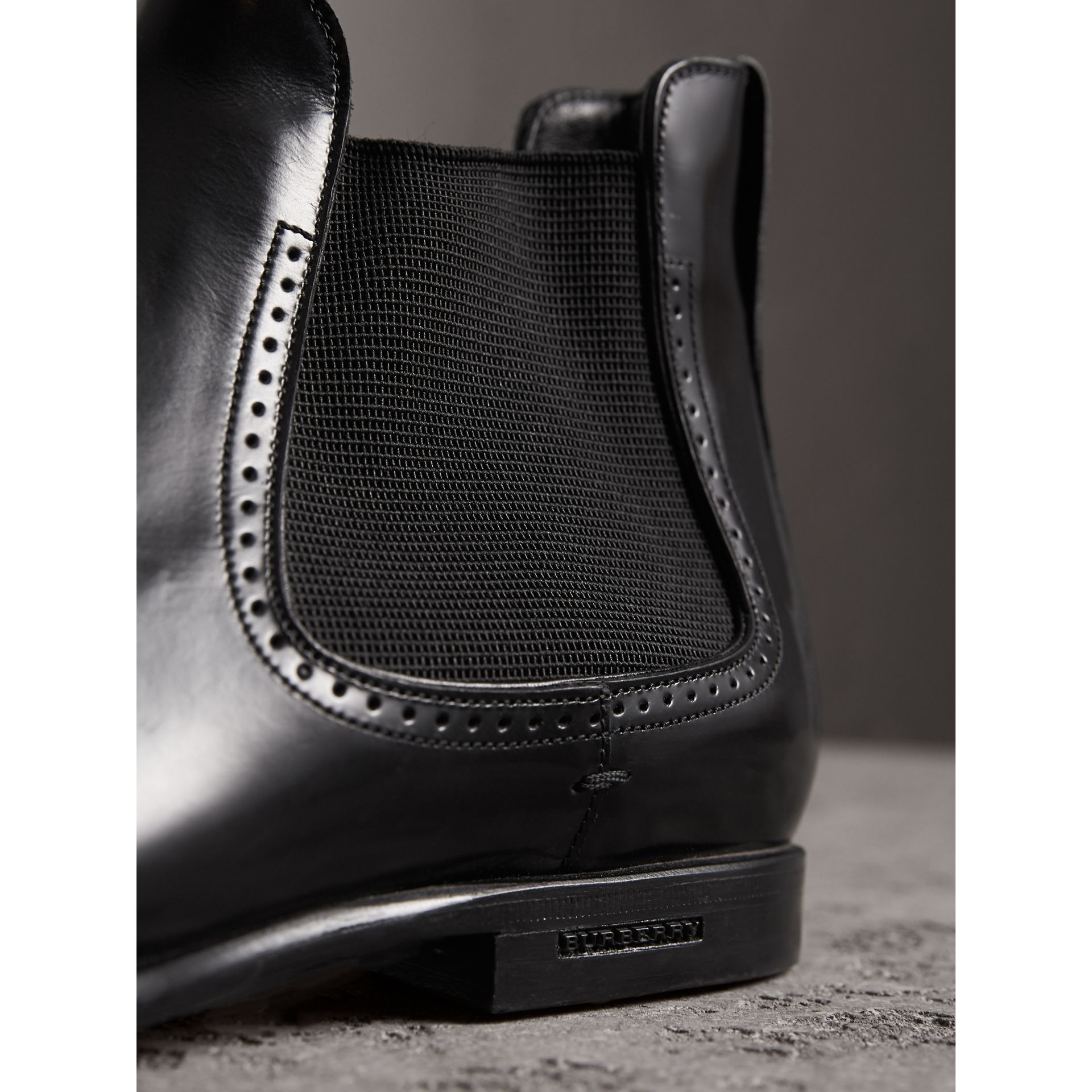 Perforated Detail Leather Chelsea Boots in Black - Men | Burberry Singapore - gallery image 1
