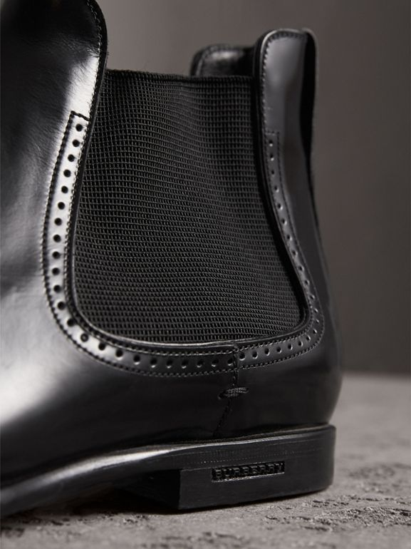 Perforated Detail Leather Chelsea Boots in Black - Men | Burberry - cell image 1