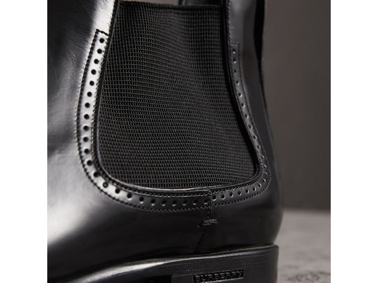 Perforated Detail Leather Chelsea Boots in Black - Men | Burberry United States - cell image 1