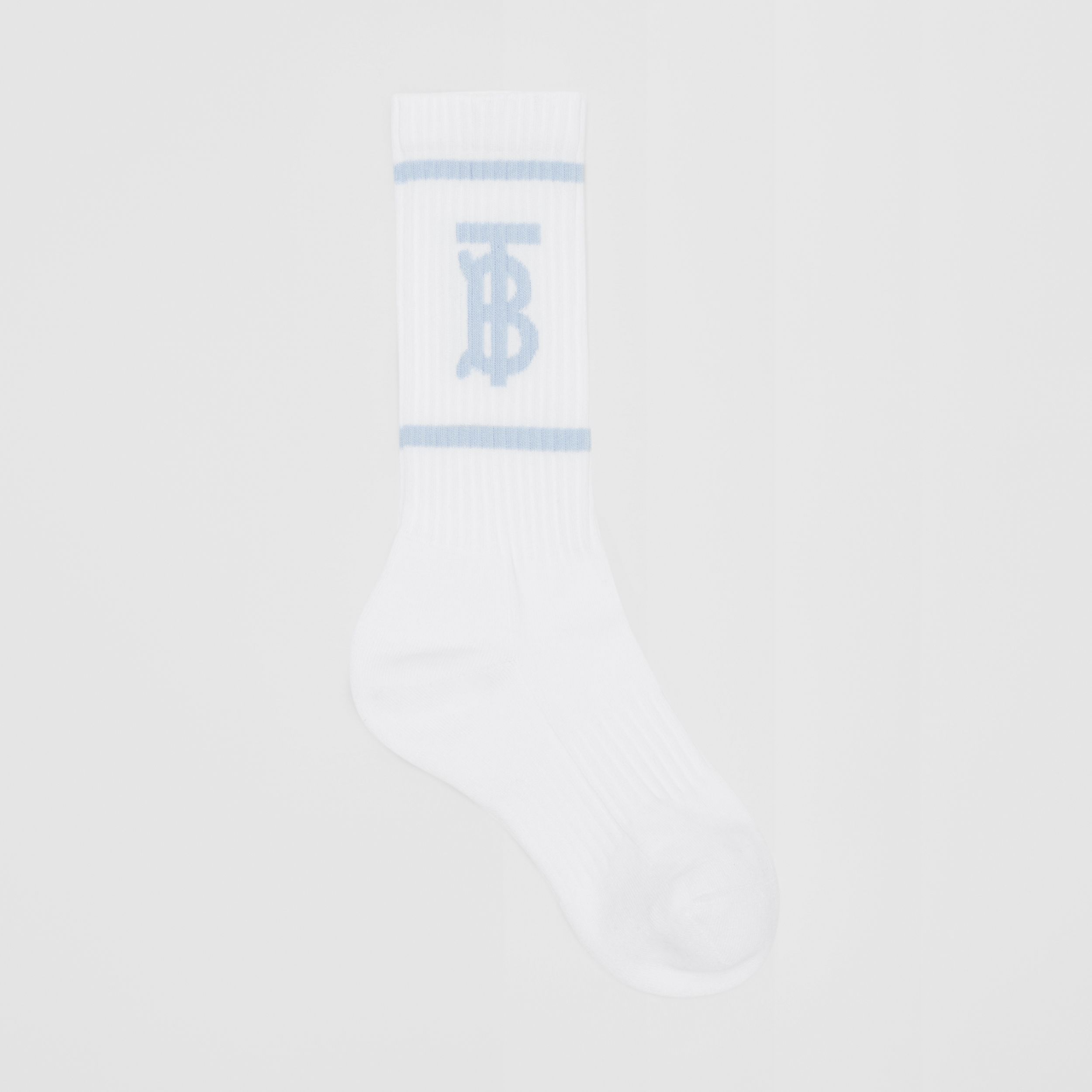 Monogram Motif Intarsia Socks in White/pale Blue | Burberry - 1