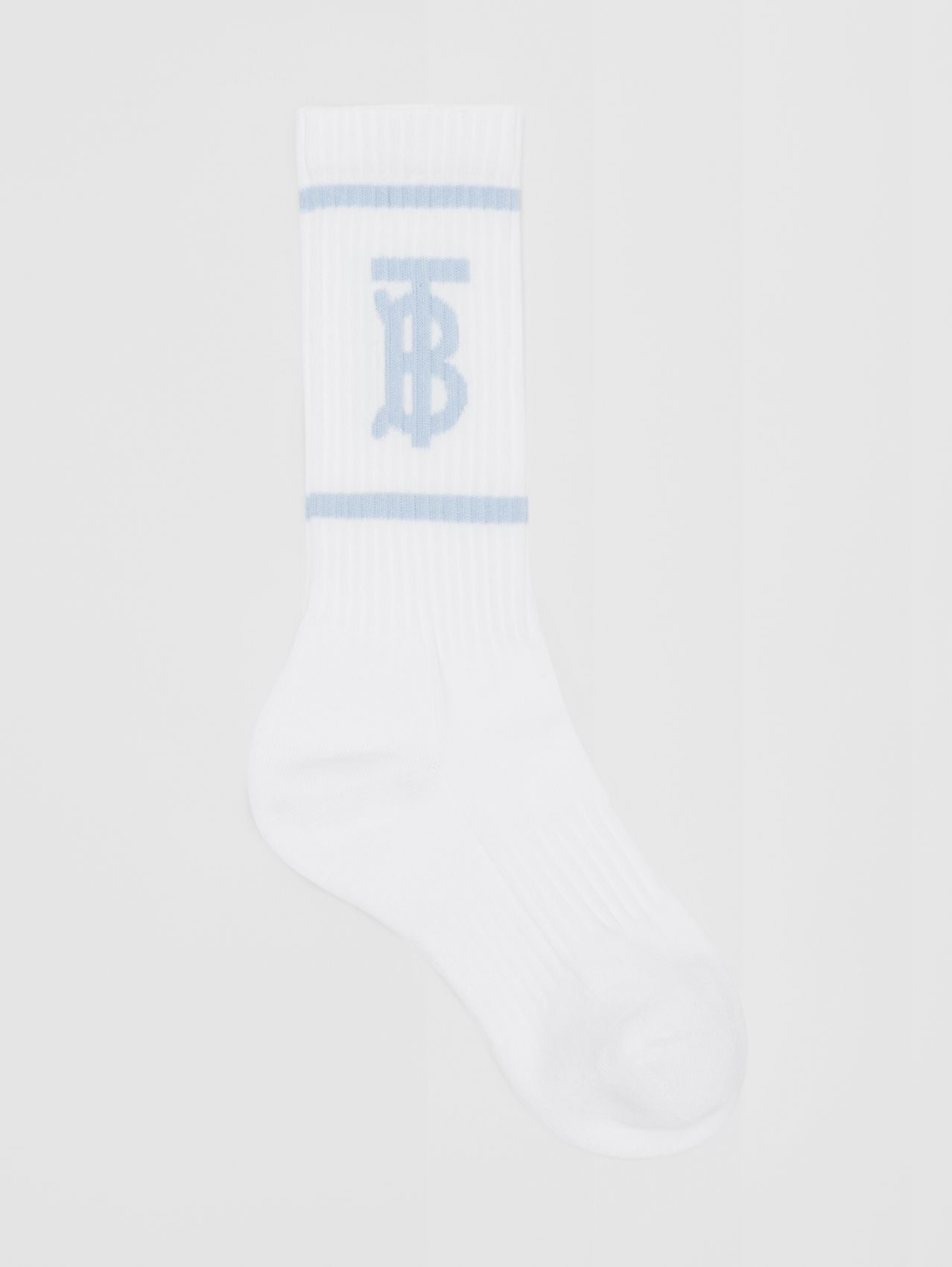 Monogram Motif Intarsia Socks in White/pale Blue