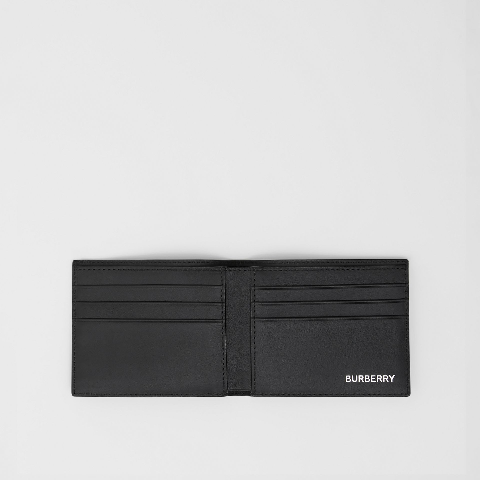 London Check and Leather Bifold Wallet in Dark Charcoal - Men | Burberry United Kingdom - gallery image 2