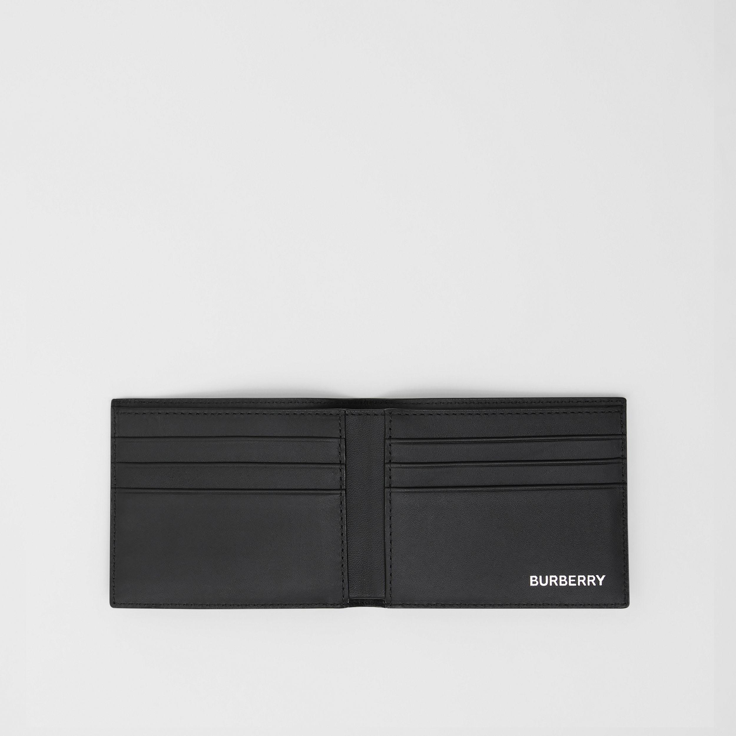 London Check and Leather Bifold Wallet in Dark Charcoal - Men | Burberry Singapore - 3