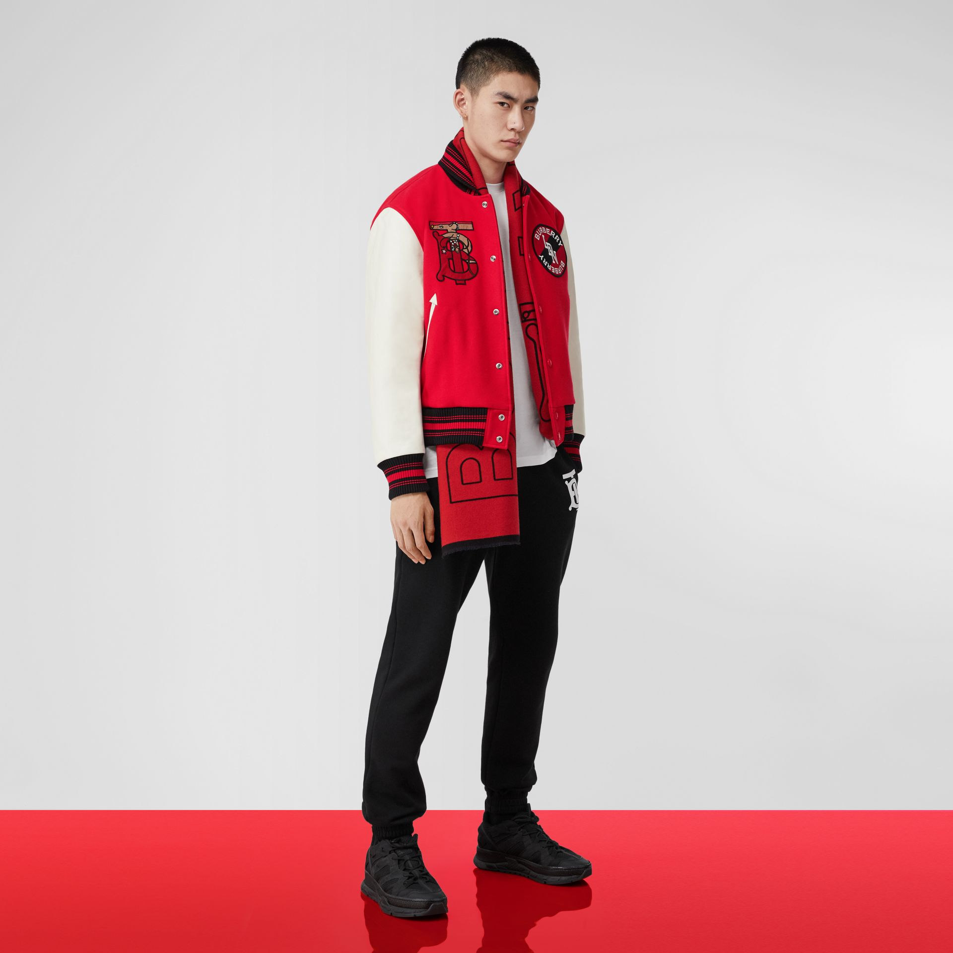 Contrast Sleeve Monogram Motif Wool Bomber Jacket in Bright Red - Men | Burberry United States - gallery image 6
