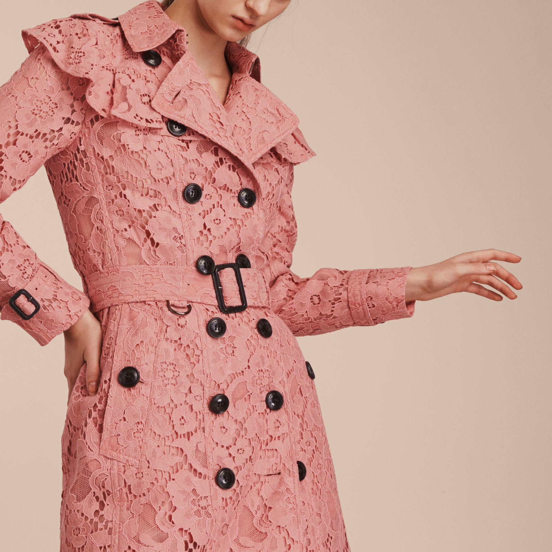 Ruffle Detail Macramé Lace Trench Coat Antique Rose - gallery image 6