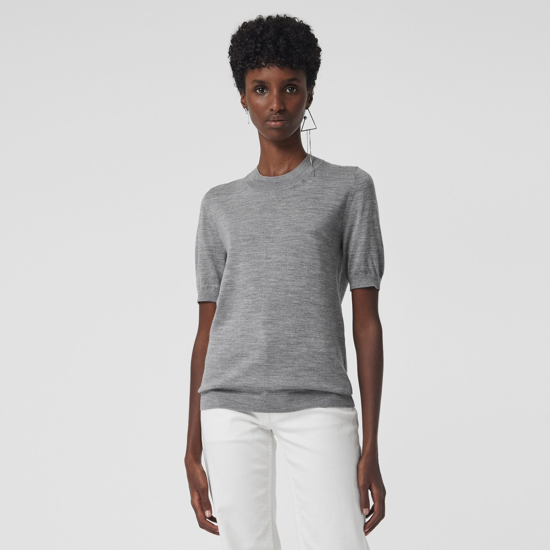 Crew Neck Merino Wool Sweater in Grey Melange - Women | Burberry - gallery image 4