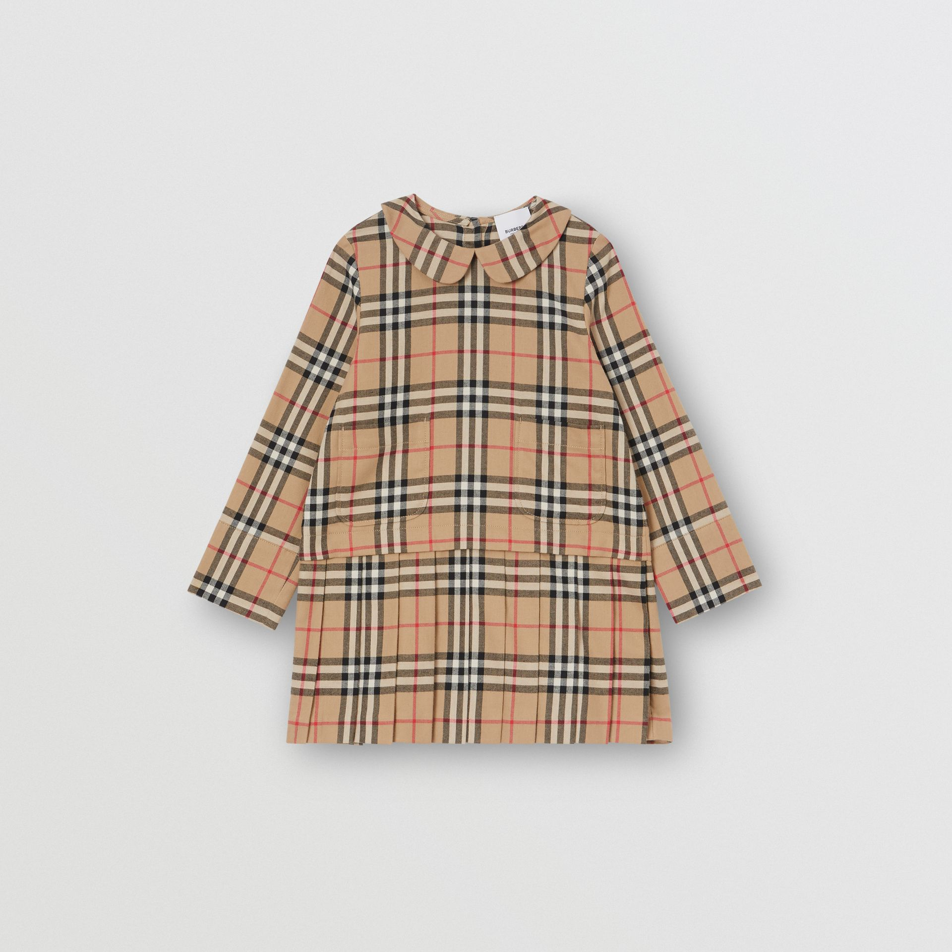 Peter Pan Collar Vintage Check Cotton Dress in Archive Beige | Burberry - gallery image 0