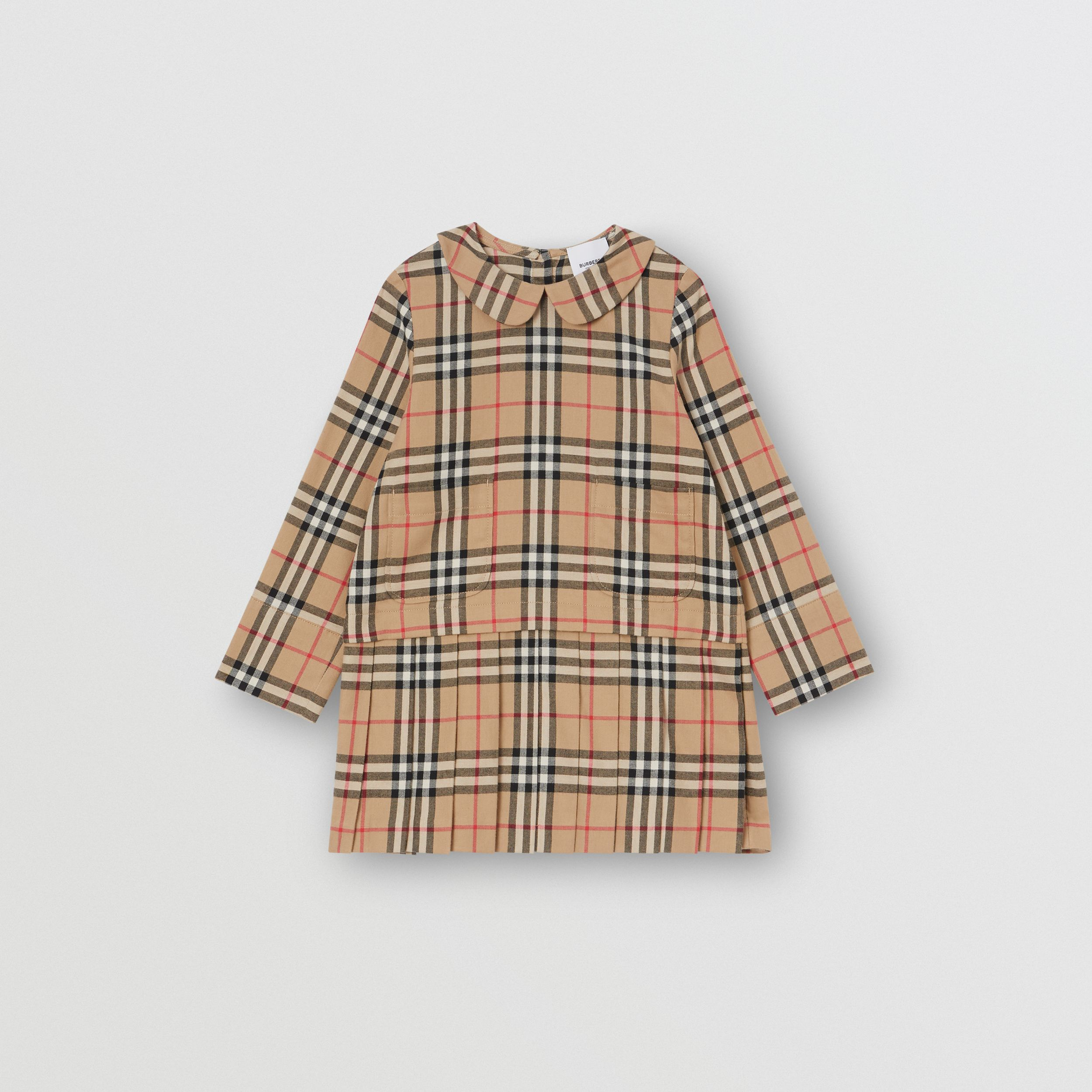 Peter Pan Collar Vintage Check Cotton Dress in Archive Beige | Burberry - 1