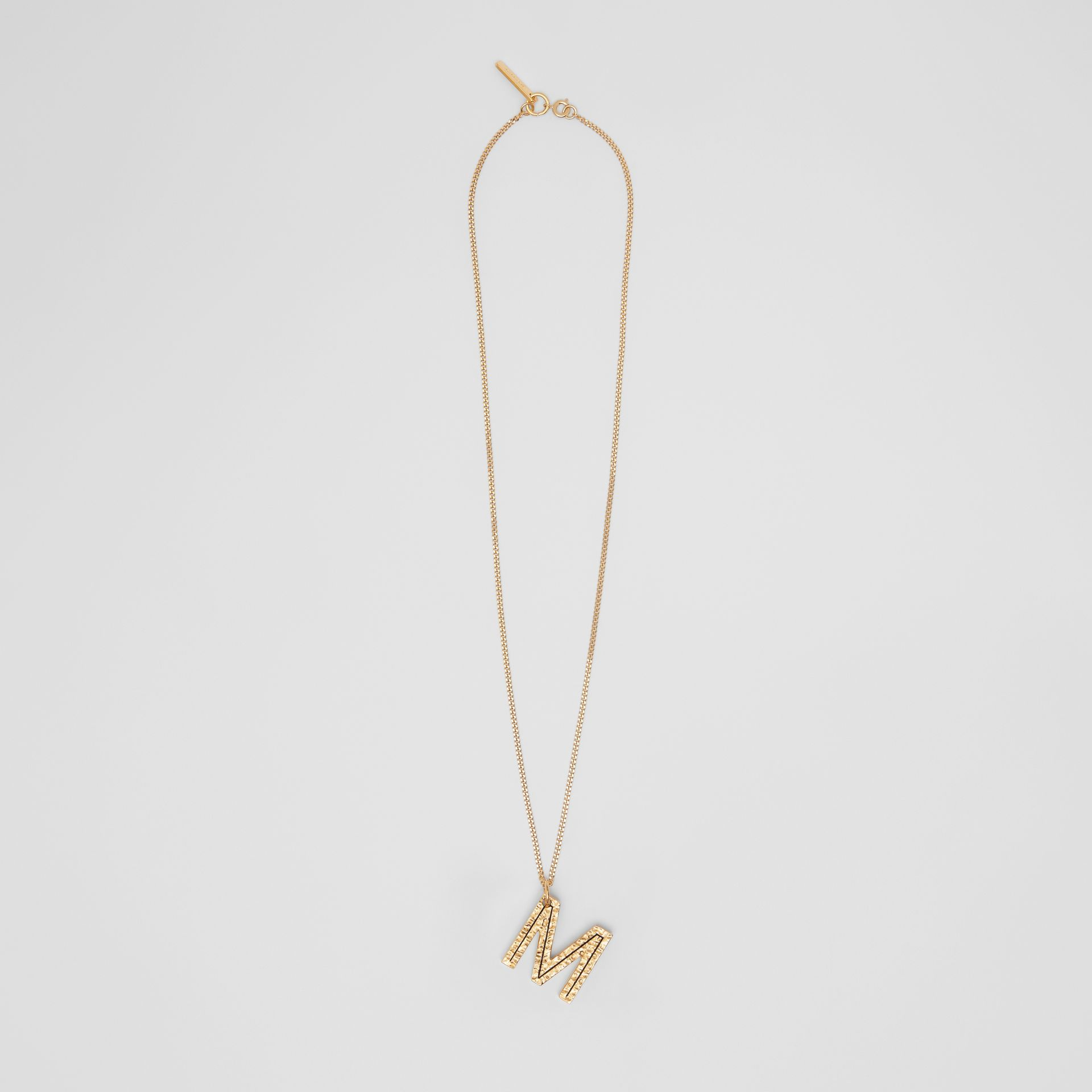 'M' Alphabet Charm Gold-plated Necklace in Light - Women | Burberry United Kingdom - gallery image 0