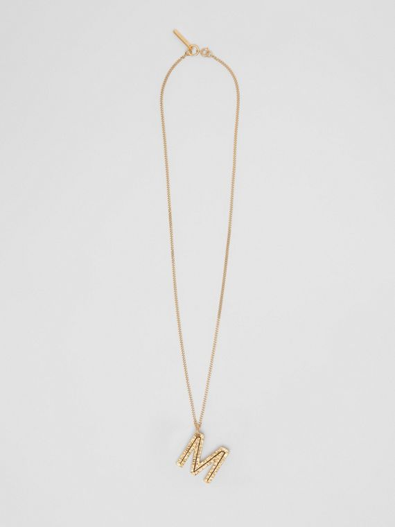 'M' Alphabet Charm Gold-plated Necklace in Light