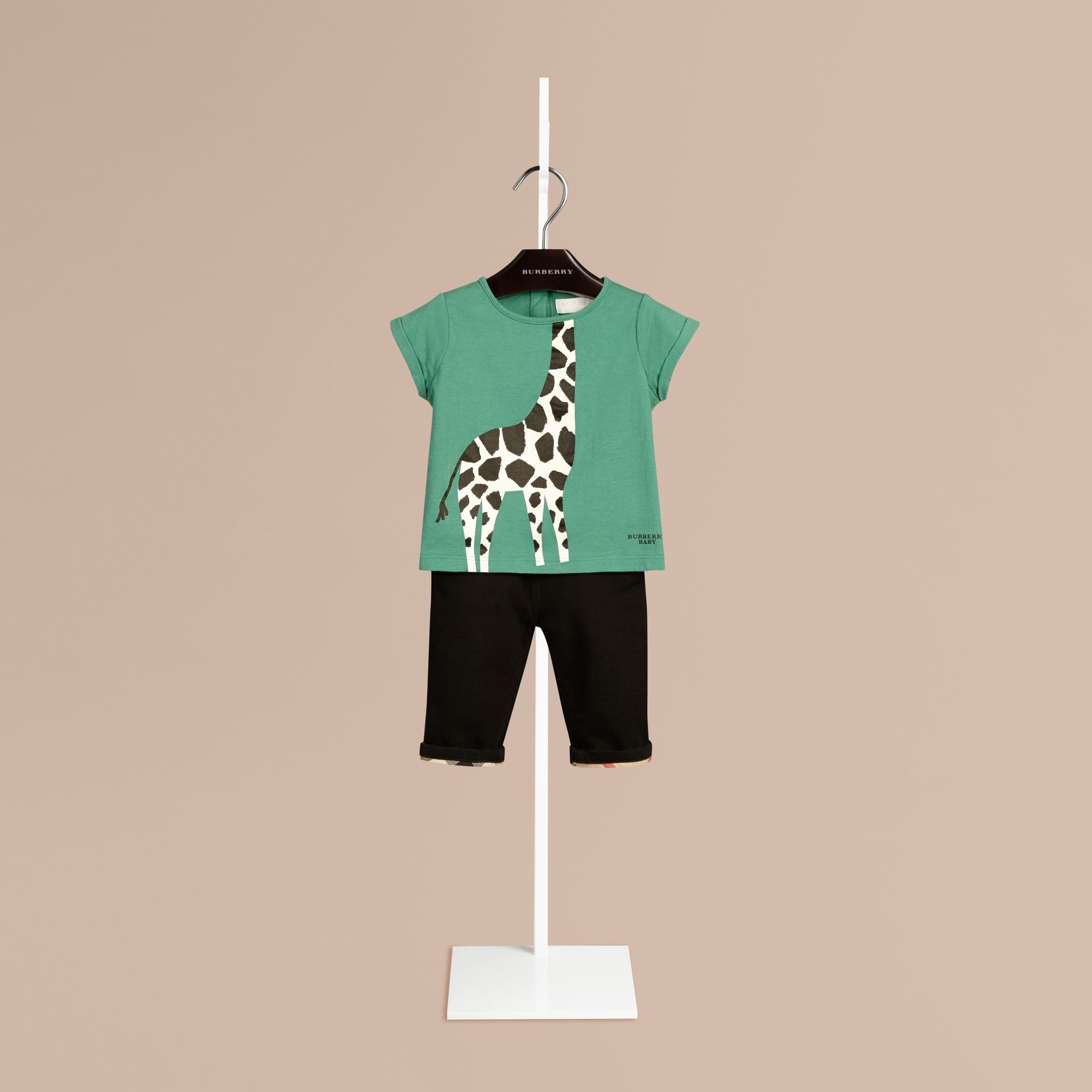 Aqua green Giraffe Print Cotton T-shirt Aqua Green - gallery image 1