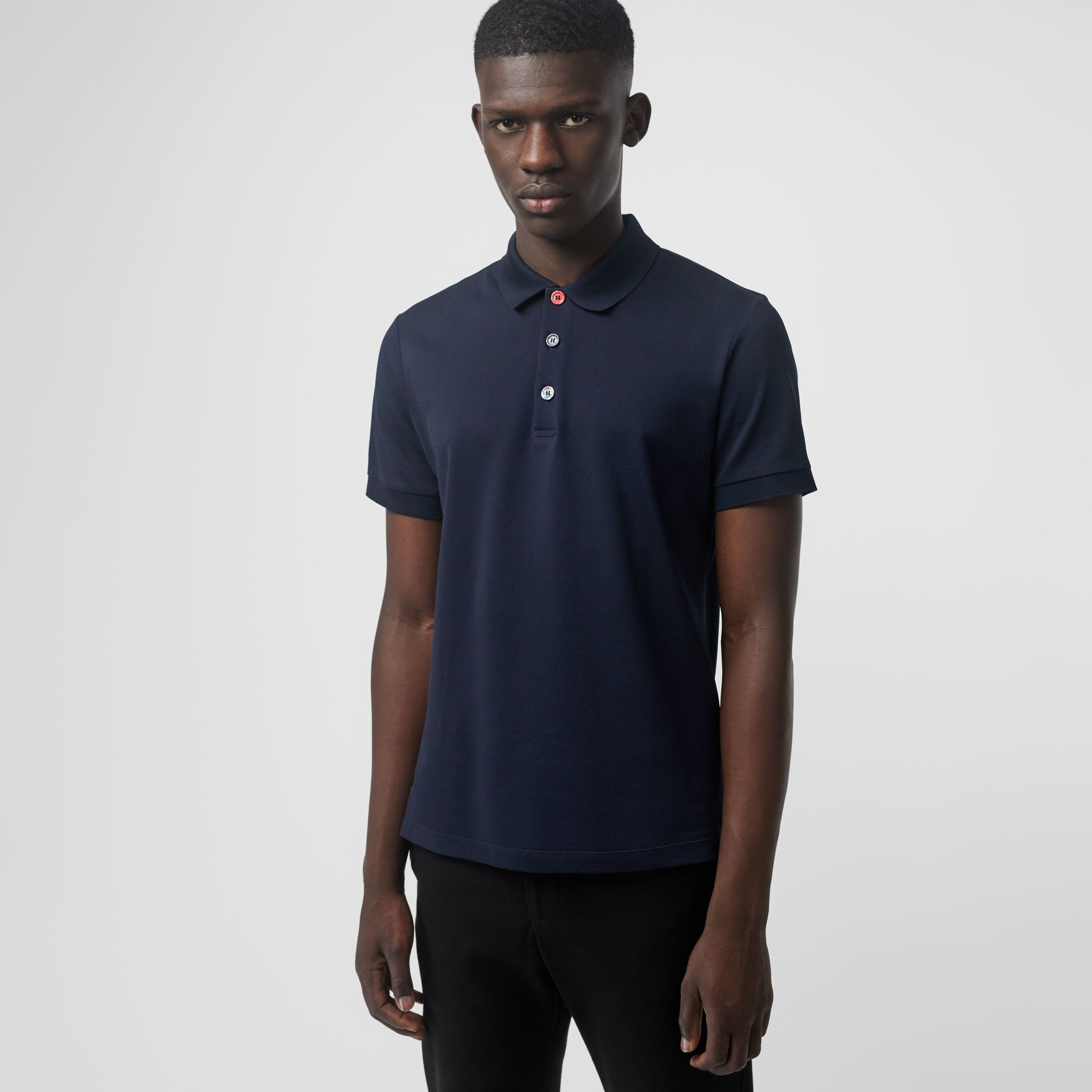 Painted Button Cotton Piqué Polo Shirt in Navy - Men | Burberry Hong Kong - gallery image 0