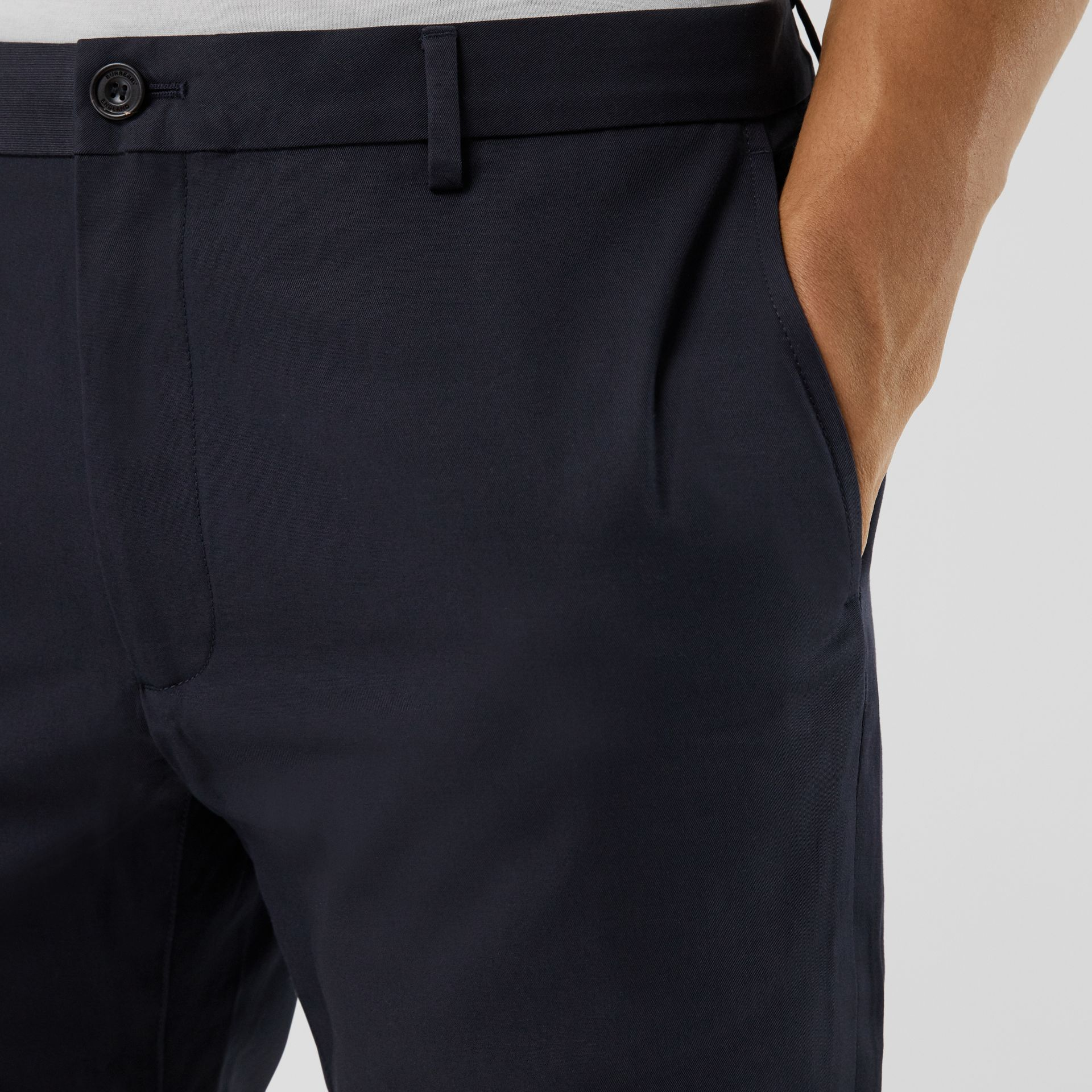 Slim Fit Cotton Chinos in Navy - Men | Burberry Hong Kong S.A.R - gallery image 1