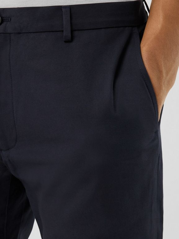 Slim Fit Cotton Chinos in Navy - Men | Burberry United Kingdom - cell image 1