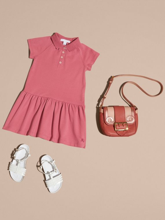 Check Placket Cotton Blend Polo Shirt Dress - cell image 3