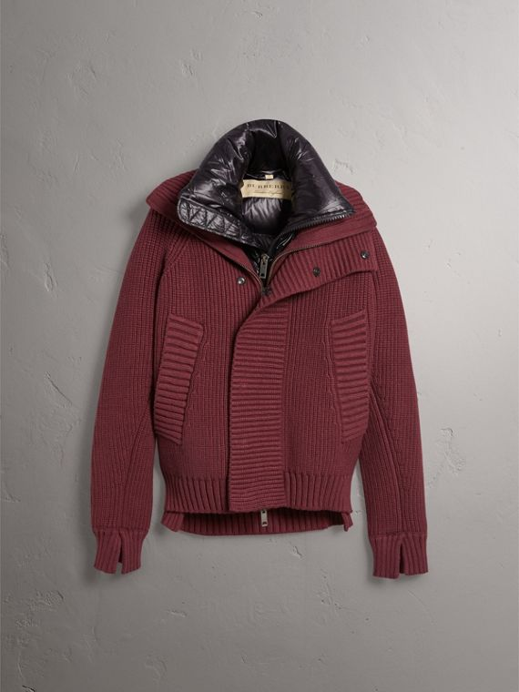 Rib Knit Cotton Blend Jacket with Down-filled Gilet in Mahogany Red - Men | Burberry - cell image 3