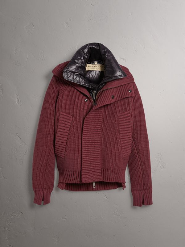 Rib Knit Cotton Blend Jacket with Down-filled Gilet in Mahogany Red - Men | Burberry United Kingdom - cell image 3