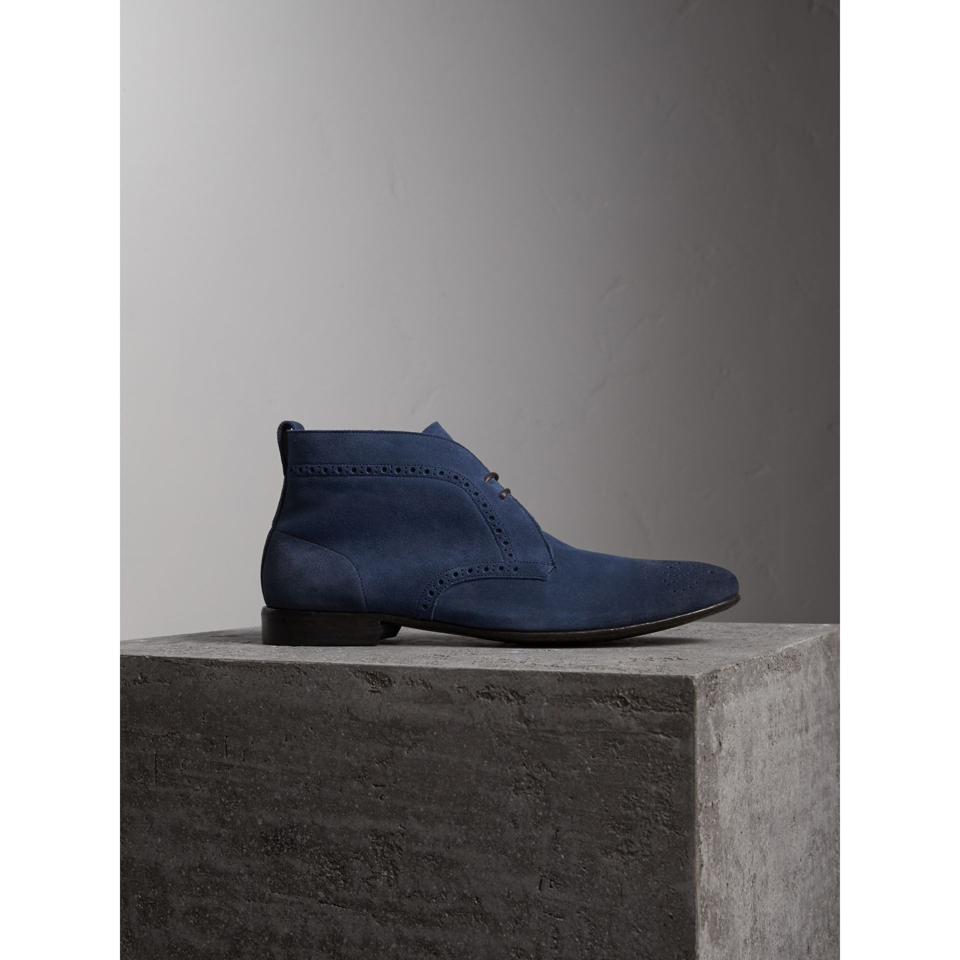 Brogue Detail Suede Desert Boots in Petrol Blue - Men | Burberry - gallery image 1