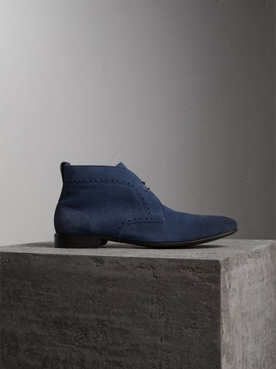 Brogue Detail Suede Desert Boots in Petrol Blue - Men | Burberry Singapore