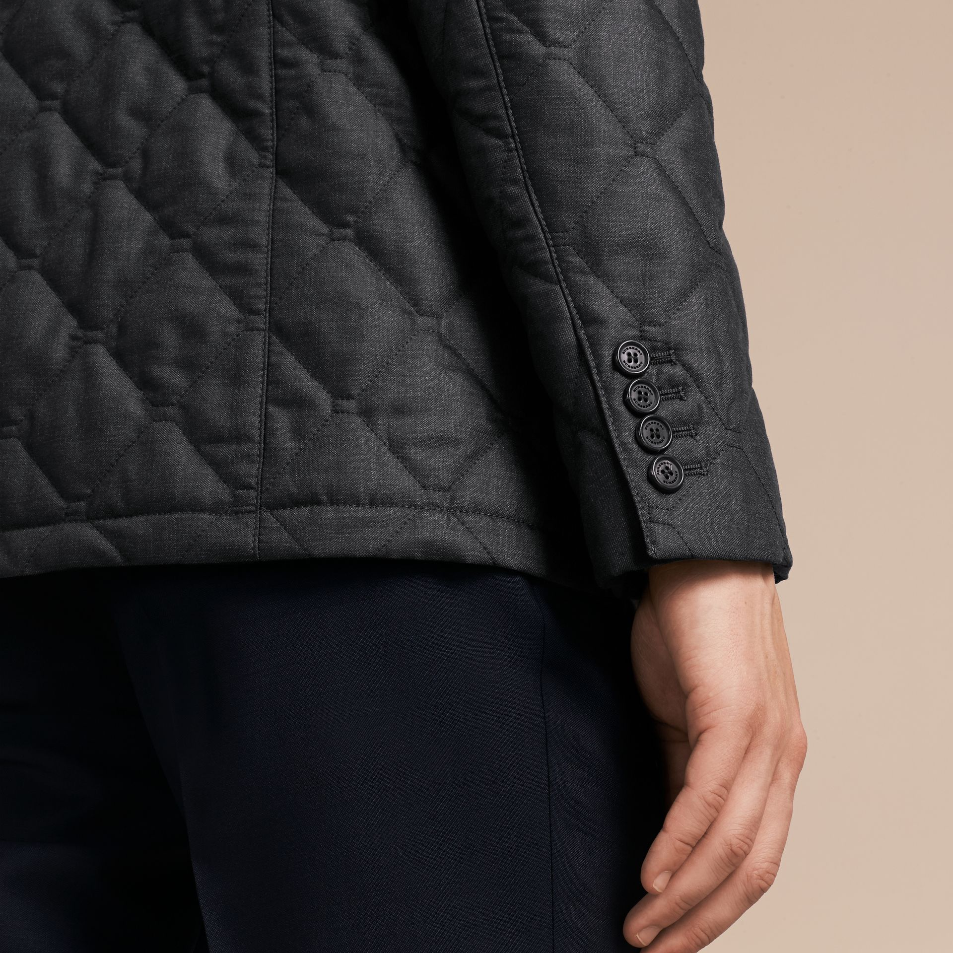 Charcoal Quilted Wool Jacket with Detachable Warmer - gallery image 6
