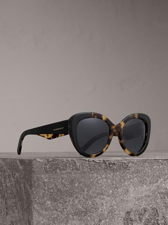 Óculos de sol com armação redonda (Preto)