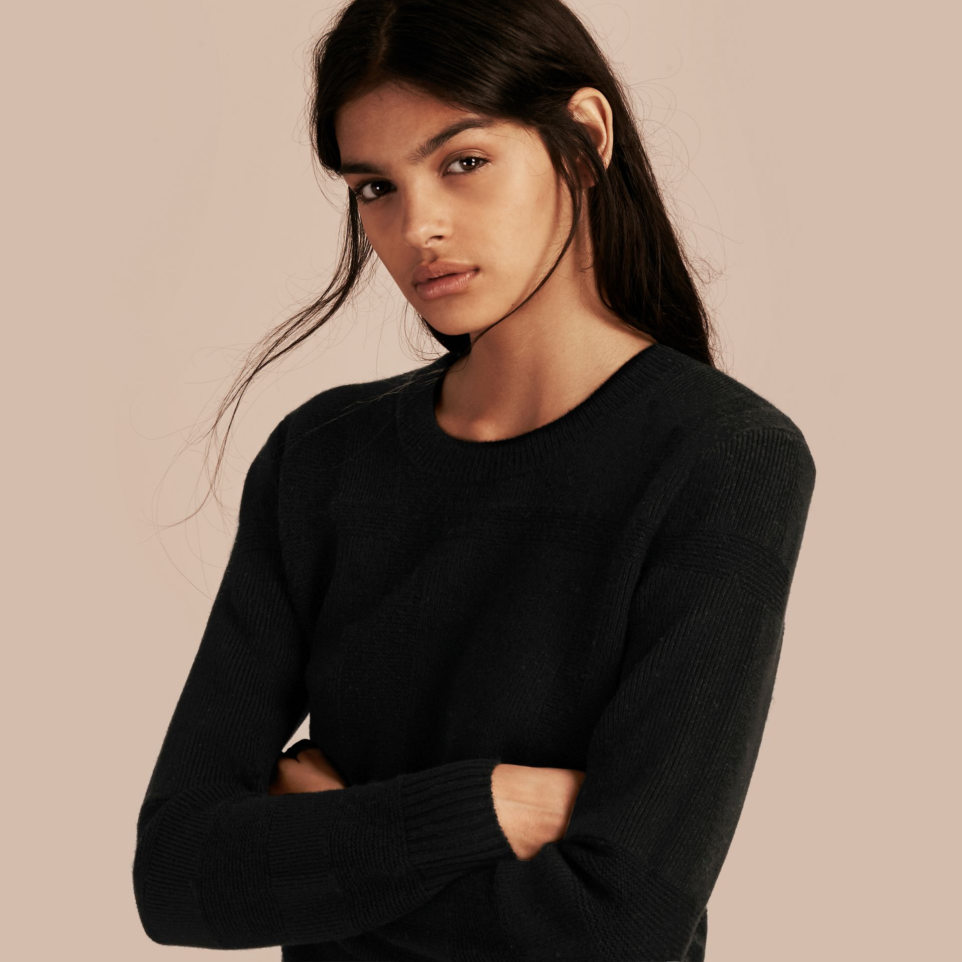 Check-knit Wool Cashmere Sweater Black - gallery image 1