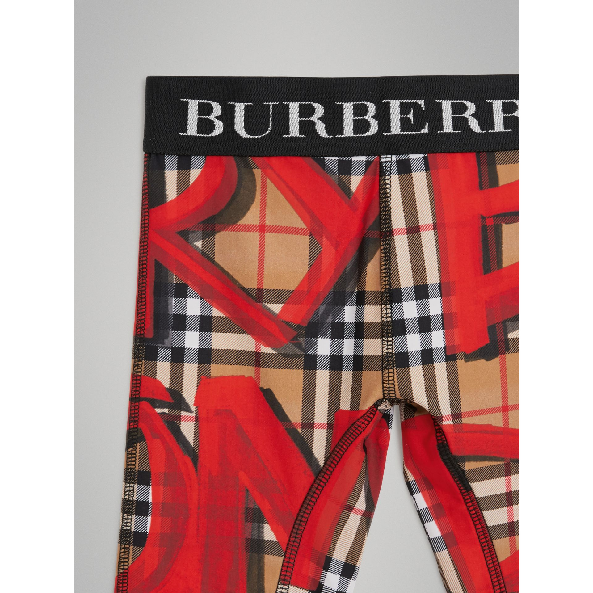 Graffiti Print Vintage Check Stretch Jersey Shorts in Bright Red | Burberry Australia - gallery image 5